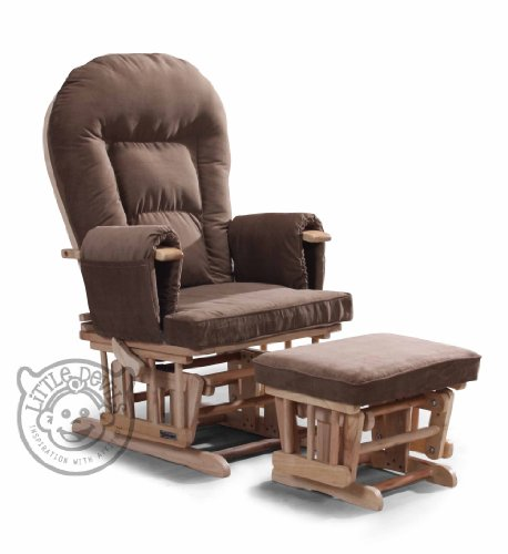 BROWN SUPREMO BAMBINO Nursing Glider/Gliding Rocking Maternity Chair with Free Footstool and Protective Cover
