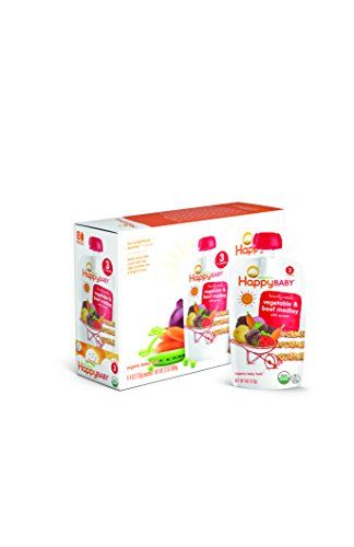 Happy Baby Organic Stage 3 Baby Food, Hearty Meals, Vegetables & Beef Medley with Quinoa (8 Count, 4 oz Each)