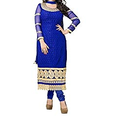 MK Enterprise  Women's Georgette Unstitched Dress Material (Blue)
