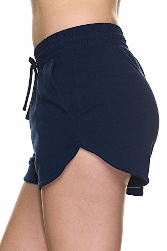 Sassy Apparel Womens Comfortable Trendy Active Shorts with Drawstring (Navy-2)