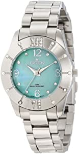 Croton Women's CN207377SSGR Heritage Crystal Accented Green MOP Dial Stainless Steel Watch