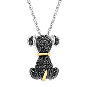 1/5 ct Black Diamond Dog Pendant Necklace in Sterling Silver & 14K Gold