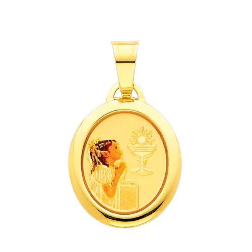 14K Yellow Gold Religious Communion Enamel Picture Charm Pendant