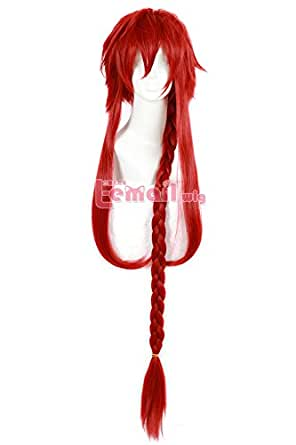 L-email Wig 100cm Long Wine Red Braid Girls Cosplay Wig ML200