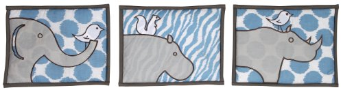 Bacati - Safari Ikat Blue/grey 3 Pc Wall Hanging Set - 1