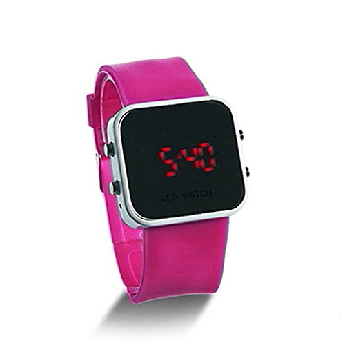 Yks Wine Red Luxury Sport Style Led Digital Watch Mirror Surface Silicone For Lady Men