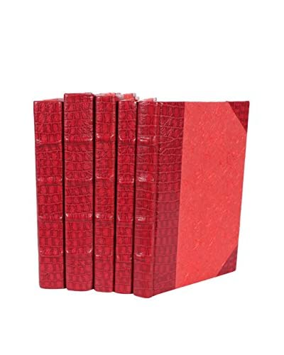 Set of 5 Exotic Croc Collection I Books, Red