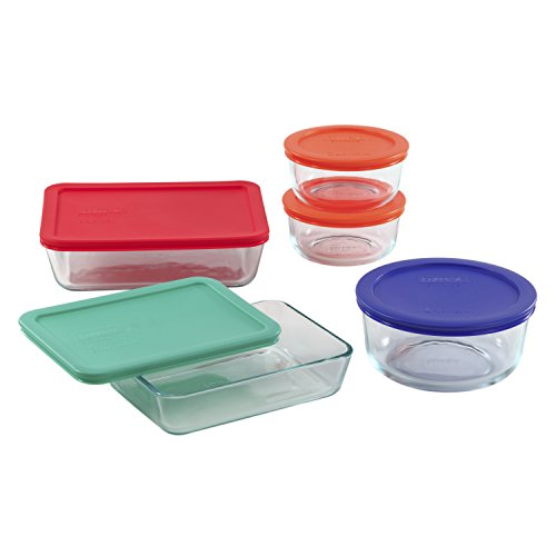 PYREX 10-pc Storage Set w/ Plastic Covers (Gold Storage Box With Lid compare prices)