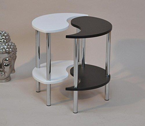 Heinz Hofmann 5081.C Yin Yang Beistelltisch / Verchromt / Schwarz-Weiß / Höhe 47 cm, Durchmesser 43 cm