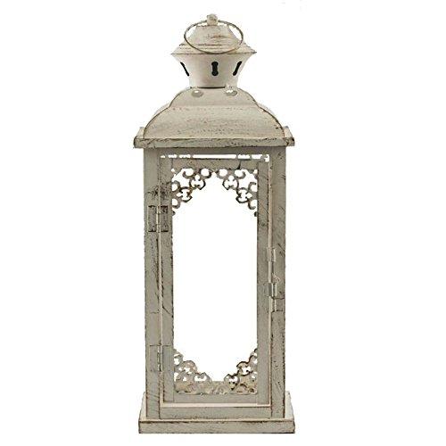 Lanterna porta candela a base quadrata in metallo e vetro bianca.