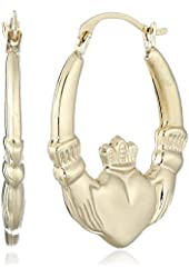 14k Gold 20mm Claddagh Hoop Earrings