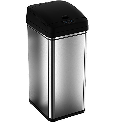iTouchless Deodorizer Sensor Can, Touch-Free Automatic Trash Can, Stainless Steel, 49 Liter / 13 Gallon (Tall Kitchen Trash Can With Lid compare prices)