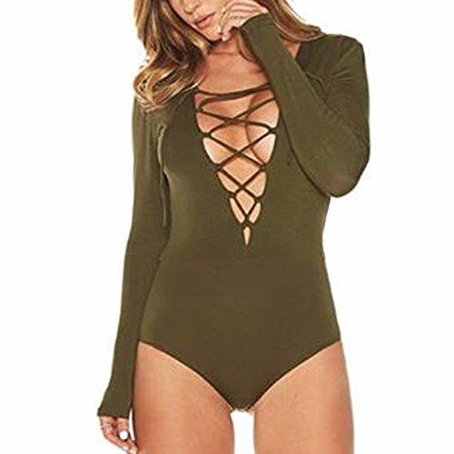 Colorfulworld Women's V Neck Sweater Bodysuit S,Green