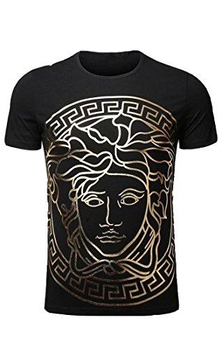 Easy Men Hip Hop Pompous Golden Round Neck Short Sleeve T Shirt Top Tee Shirt