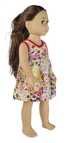 Springfield Collection by Fibre-Craft - Abstract Floral Dress with Red Piping Detail - Fits All 18-Inch Dolls - Mix and Match! - For Ages 4 and Up - 1