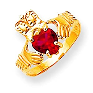 14K Gold CZ January Birthstone Claddagh Ring