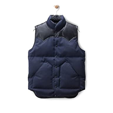Wool Serge Down Vest: Navy / Black