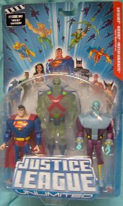 Buy Low Price Mattel Justice League Unlimited 3 Figure Pack: Transluscent Martian Manhunter, Superman and Brainiac on NOT MINT BLUE CARD (B001NV9AGU)