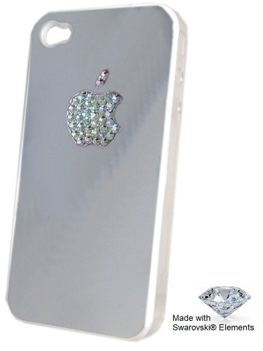 Apple iPhone 4S / 4 Silver case - Apple Logo Decorated with GENUINE Swarovski® Elements ! Crystal color: AB