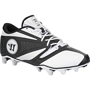 WARRIOR Mens Burn 7.0 Low Lacrosse Cleats - Size: 8.5, White black by Warrior
