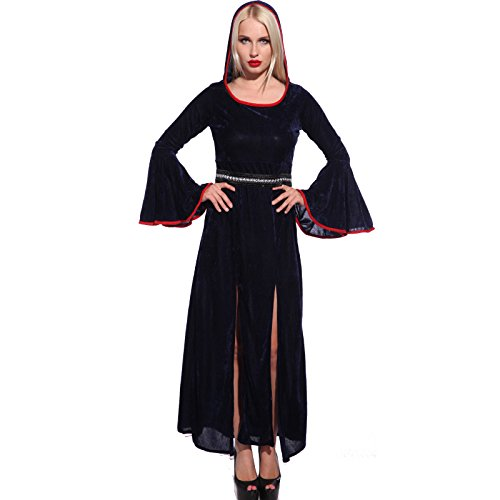 Gothic Ladies Hooded Medieval Renaissance Queen Gown Robe Fancy Dress Costume