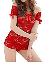 Nsstar Womens Lace See-through Boat Neck Lingerie Dress Babydoll with G-string (Red)