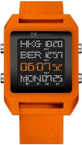 Hugo Boss Orange 1512816 Unisex Watch Digital Quartz Black Rubber Strap Orange Dial