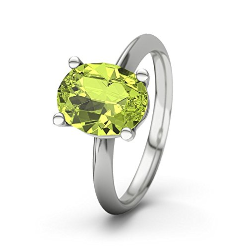 21DIAMONDS Women's Ring Courtney Peridot Brilliant Cut 9Ct White Gold Engagement Ring