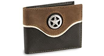 Nocona Men's Star Concho Bi-Fold Leather Wallet Black One Size