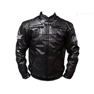 TMS Mens Motorcycle Armor Racing Leather Jacket (TJKBLACK + 5 PADS) from T-Motorsports