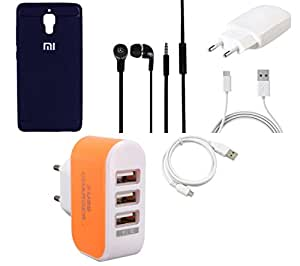 NIROSHA Cover Case Charger Headphone USB Cable for Xiaomi Mi4 - Combo