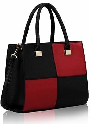 Women's Ladies Designer Faux Leather Celebrity Tote Bag Shoulder Satchel Handbag (Black & Red Celebrity Fashion)