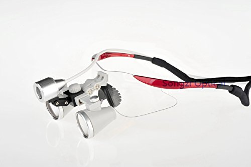 (2.5X,3X,3.5X Optional) High Quality Ultra-Light Red Color Frame Medical Loupes, Surgical Loupes & Sz-1 Surgical Headlight (Working Distance :(440 - 540 Mm) L, Magnification:3X)