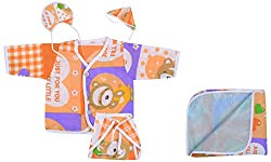 Dream Baby Gift Clothing Jhabla Set (Multi-color, 0-3 Months)