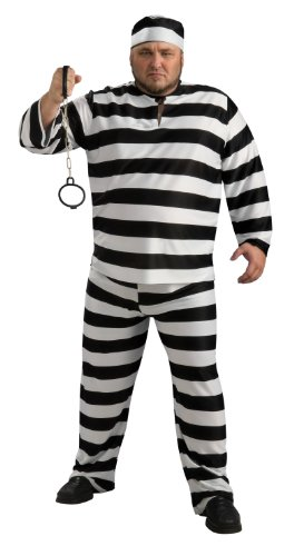 Rubie'S Costume Convict Man Costume, Black And White, Adult Full Figure front-257153