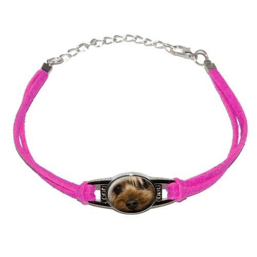 Yorkshire Terrier Yorkie Dog - Closeup - Novelty Suede Leather Metal Bracelet - Pink 3d Yorkie Dog Charm