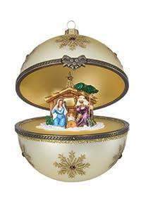 #!Cheap Reed & Barton European Glass Blown Hinged Nativity Ball Ornament, Diameter 4.0