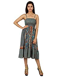Trendy Polyester Leaves Dress Green Printed Medium For Ladies By Rajrang