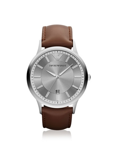 Emporio Armani Men's AR2463 Brown/Silver Leather Watch