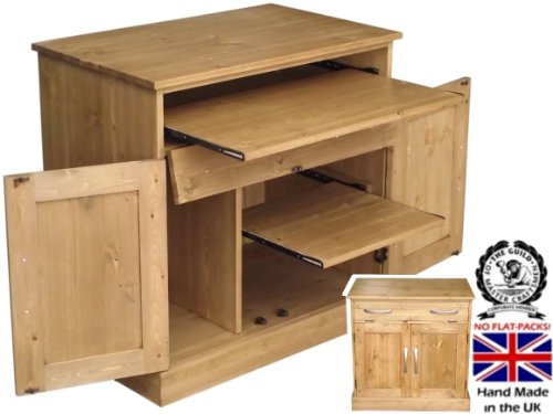 Solid Pine Desk, Handcrafted & Waxed Computer Workstation, Hideaway, Hidden Home Office Bureau, PC Cabinet. Choice of Colours. No flat packs, No assembly