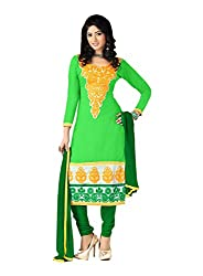 FadAttire Unstitched Chanderi Cotton Suit-Green-FAGR05