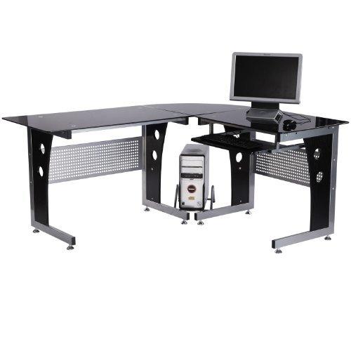 Computertisch Eckschreibtisch Schreibtisch Bürotisch PC Tisch mit schwarzem Sicherheitsglas