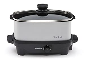 West Bend 84915 5-Quart Oblong-Shaped Slow Cooker with Tote