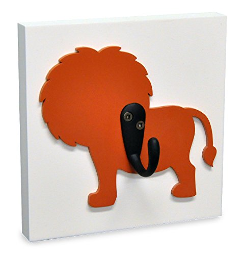 Homeworks Etc Single Wall Hook Nursery Room Decor, Orange Jungle Lion - 1