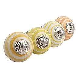 Set of 4 Stripe Multicolor Handmade IndianShelf Ceramic Drawer Knobs Handles Pulls Silver Finish