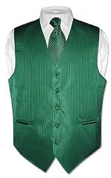 Men\'s Dress Vest NeckTie EMERALD GREEN Vertical Striped Design Neck Tie Set 2XL