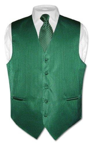 Men's Dress Vest & NeckTie Emerald Green Striped Vertical Stripes Design Set