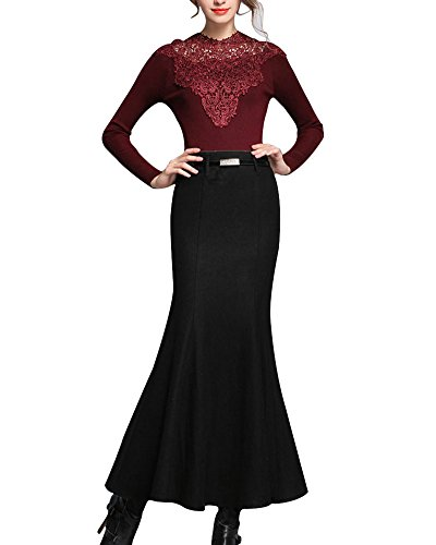 damen-grosse-yards-rock-maxi-skirt-elegant-bodycon-party-fishtail-rocke-schwarz-s