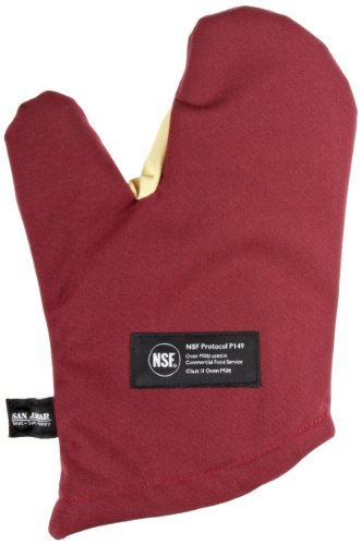 San Jamar KT0212 Kool-Tek Nomex Conventional Temperature Protection Oven Mitt, 13″ Length, Red