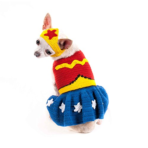Wonder Woman Knit Dog Costume